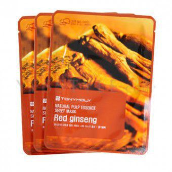TonyMoly Natural Pulp Sheet Mask Red ginseng - Маска для лица с экстрактом женьшеня