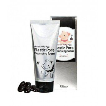 Elizavecca Milky Piggy Elastic Pore Cleansing Foam - Чёрная пенка для очищения пор на лице на основе древесного угля
