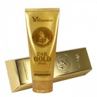 Elizavecca 24K Gold Snail Cleansing Foam - Нежная пенка для умывания с муцином улитки и 24К золотом