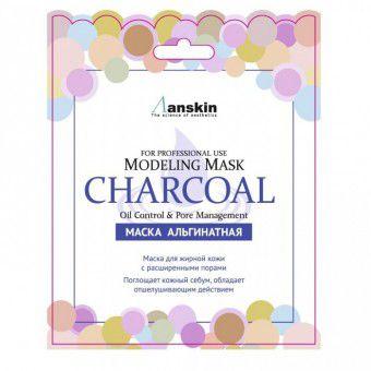 Anskin Charcoal Modeling Mask / Refill 25 - Маска альгинатная для кожи с расшир.пор. (саше)