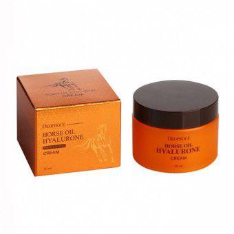 Deoproce Horse Oil Hyalurone Cream - Крем для лица с гиалуроновой кислотой и лошадиным жиром