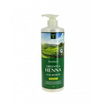 Deoproce Green Tea Henna Pure Refresh Shampoo - Смягчающий шампунь для волос с зеленым чаем и хной