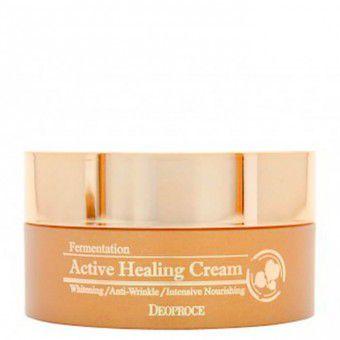 Deoproce Fermentation Active Healing Cream - Питательный крем для лица с активными пузыриками кислорода