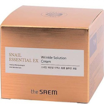 The Saem Snail Essential EX Wrinkle Solution Cream - Анивозрастной крем против морщин с фильтратом улиточной слизи