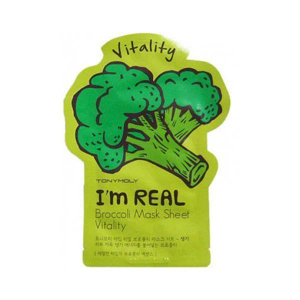 Купить I'm Real Broccoli Mask Sheet, Маска с экстрактом броколли витаминная, маска для лица, TonyMoly