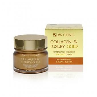 3W Clinic Collagen & Luxury Gold Cream - Омолаживающий крем для лица с коллагеном и коллоидным золотом