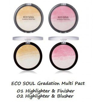 The Saem Eco Soul Gradation Multi Pact 02 Highlighter&Blusher - Пудра-хайлайтер-румяна