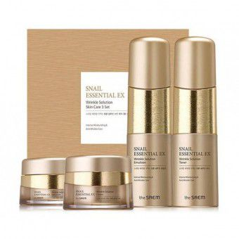 The Saem Snail Essential EX Wrinkle Solution Skin Care 3 Set - Набор уходовый антивозрастной