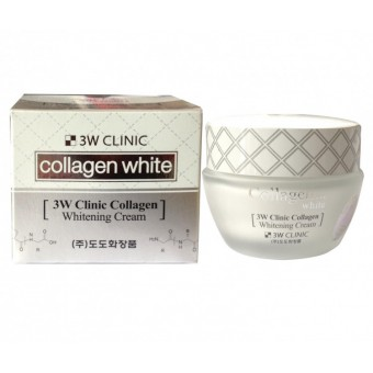 3W Clinic Collagen Whitening Cream - Крем для лица осветляющий с коллагеном