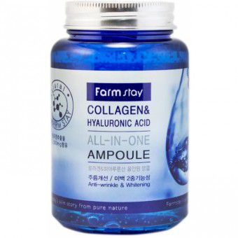 Farm Stay Collagen & Hyaluronic Acid All-in-One Ampoule - Многофункциональная ампульная сыворотка с гиалуроновой кислотой и коллагеном