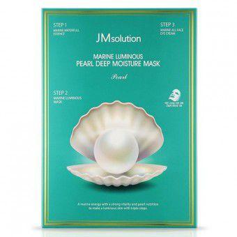 JM Solution Marine Luminous Pearl Deep Moisture Mask - Трёхшаговая увлажняющая  маска с жемчугом