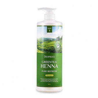 Deoproce Green Tea Henna Pure Refresh Hair Pack - Маска для волос с зеленым чаем и хной