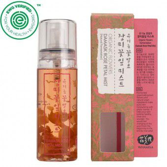 Whamisa Organic Flowers Damask Rose Petal Mist (Natural Fermentation) - Спрей для лица на основе цветочных ферментов с экстрактом лепестков розы