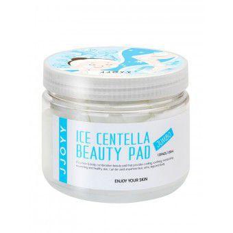 JJOYY Ice Centella Beauty Pad Jumbo - Интенсивно питающие, смягчающие и увлажняющие диски для лица с экстрактом Центеллы, Церамидами и Аллантоином