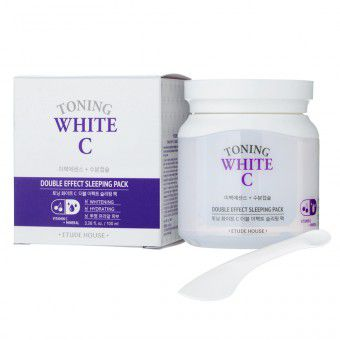 Etude House Toning White C Double Effect Sleeping Pack - Увлажняющая осветляющая ночная маска для лица