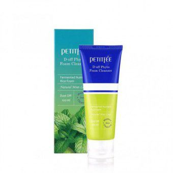 Petitfee D-off Phyto Foam Cleanser - Глубокоочищающая и скрабирующая фито-пенка для лица