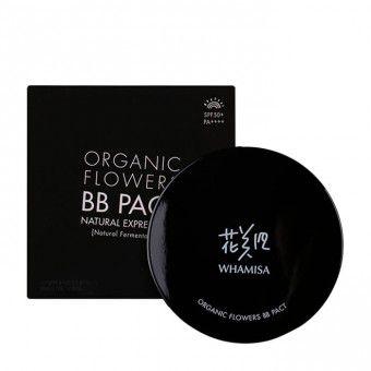Whamisa Organic Flowers BB Pact Natural Expression (Natural Fermentation) 23 Natural Beige, SPF50+/PA++++ - Тональный BB крем в кушоне № 23