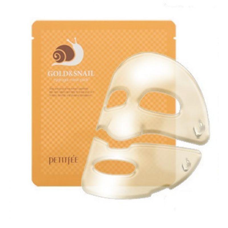Купить Gold & Snail Hydrogel Mask Pack - Гидрогелевая маска для лица с золотом и экстрактом слизи улитки, Petitfee