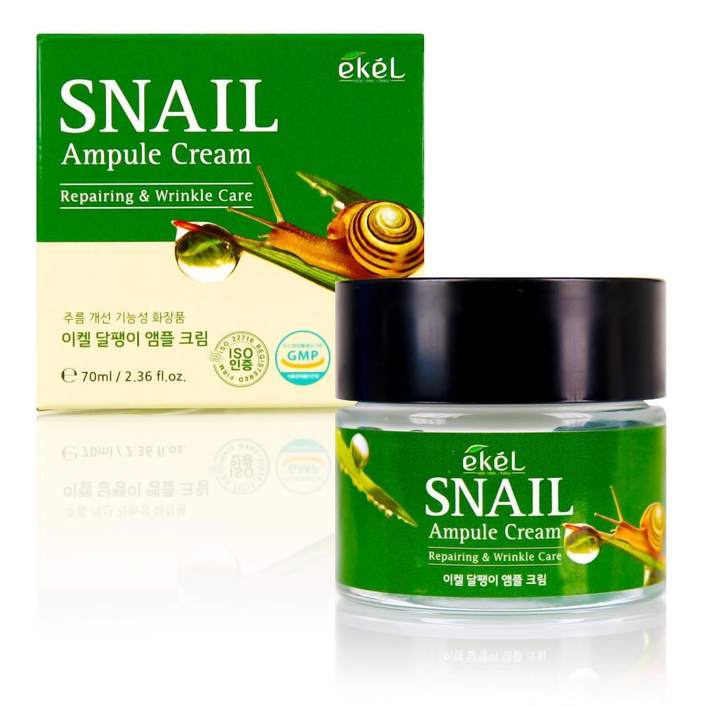 Купить Snail Ampule Cream - Крем ампульный для лица с муцином улитки, Ekel